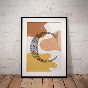 brown-beige-pink-abstraction-wallart-abstactposter-neutarltonesillustartion