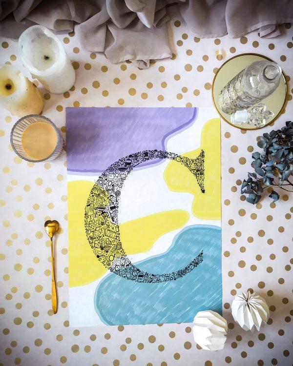violet-yellow-abstractwallart-abstarakcjakolory-zoltailustarcja-eklektycznailustracja